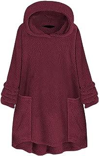 Women Plus Size Plush Pullover Tops Autumn Winter Loose Long Sleeve Sherpa Fleece Hooded Sweatshirt Blouse Coat Outwear