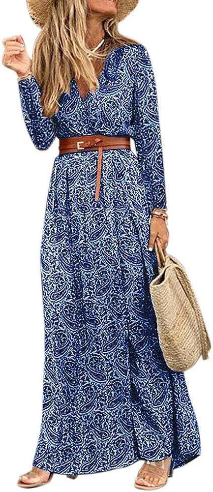 Women's Bohemian Floral Printed Dresses Plus Size V Neck Long Sleeve Split Beach Vacation Party Maxi Dress
