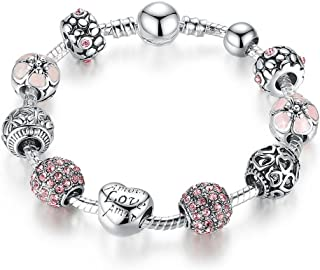 Love Hearts Silver Plated Charm Bracelet with CZ and Glass Beads
