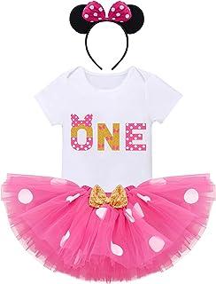 IMEKIS Baby Mädchen 1. Geburtstag Outfit Prinzessin Minnie Kostüm Kurzarm Strampler  Pailletten Bowknot Tüll Tutu  Maus Ohr Stirnband 3tlg Fotoshooting Kleidung Set