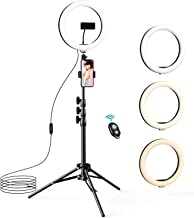 """$54 » 10.2"""" Selfie Ring Light with Tripod Stand & 2 Phone Holders, LETSCOM Dimmable LED Beauty Camera Ringlight for Makeup/Photography/Live Stream Video/Vlog/Tiktok/YouTube, Compatible with iPhone & Android"""