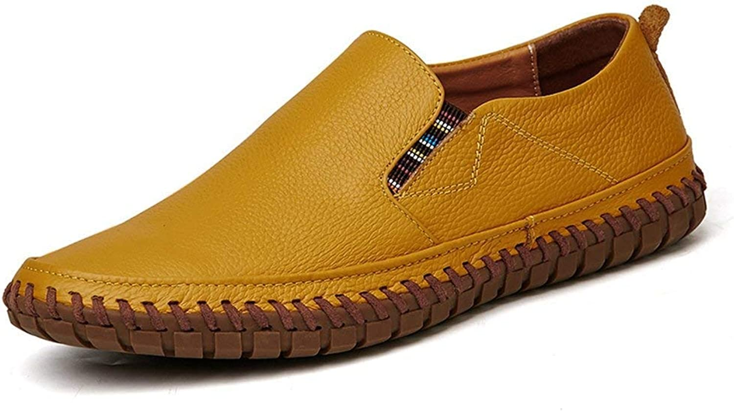 ZHRUI Men Genuine Leather Flats Handmade Breathable Causal Slip-on Business Lazy Driving shoes (color   Yellow, Size   9.5UK=44EU)