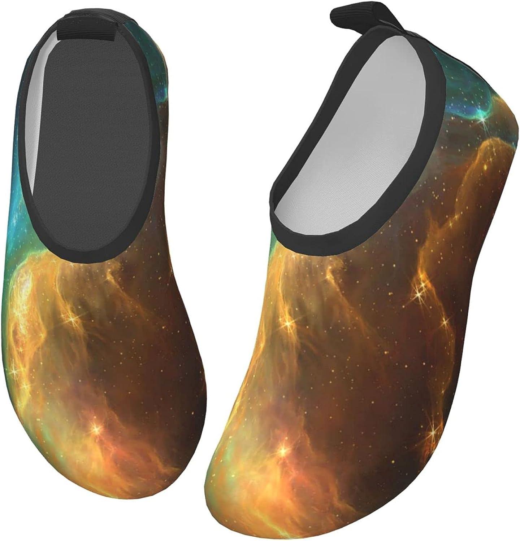 Bluebluesky Space Galaxy Stars Rays Kids Swim Water Shoes, Non-Slip Quick Dry Barefoot Aqua Pool Socks Shoes for Boys & Girls Toddler