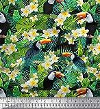 Soimoi Schwarz Viskose Chiffon Stoff Tropische Blätter,