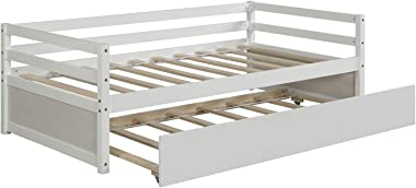 Modern-Depo Wood Daybed with Trundle Frame Set Wood Platform Bed Frame, Space-Saving Sofa Bed for Kids Teens and Adults, Wood