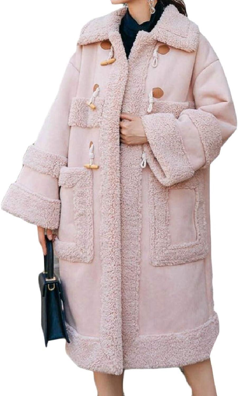 ZXFHZSCA Women Faux Suede Overcoat Solid color Lapel Fleece Lined Jacket Pea Coat