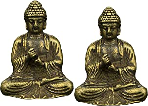 F Fityle Set of 2, Brass Mini Sakyamuni Buddha Meditating Statue Figurine Peace Harmony Sitting Fengshui Home Decoration O...