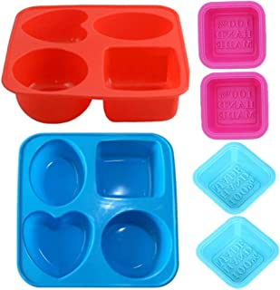 IKAAR Soap Mould Silicone Soap Moulds Food Grade Soap Making Molds Round Oval Heart Square Shape Handmade DIY Soap Molds