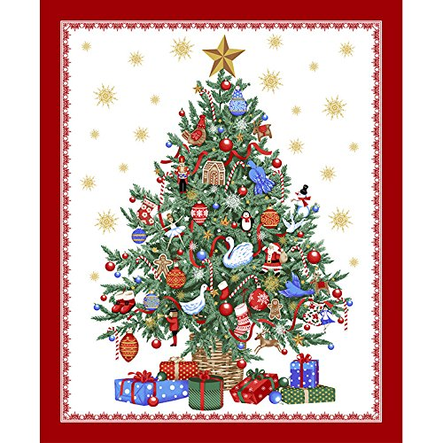 Windham Fabrics 0490159 O' Christmas Tree Metallic 35in Panel Multi,  Multicolor - Christmas Fabric Panel For Quilting: Amazon.com