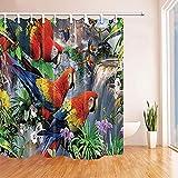 HNFY Exotische Vögel Papagei Duschvorhänge Papageien auf Zweigen voll mit Blume neben Wasserfall Mehltau widerstandsfähigen Stoff Bad Vorhang Duschhaken 240X200CM