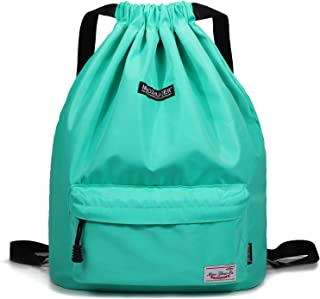 Drawstring Backpack String Bag Sackpack Cinch Water Resistant Nylon for Gym Shopping Sport Yoga by WANDF
