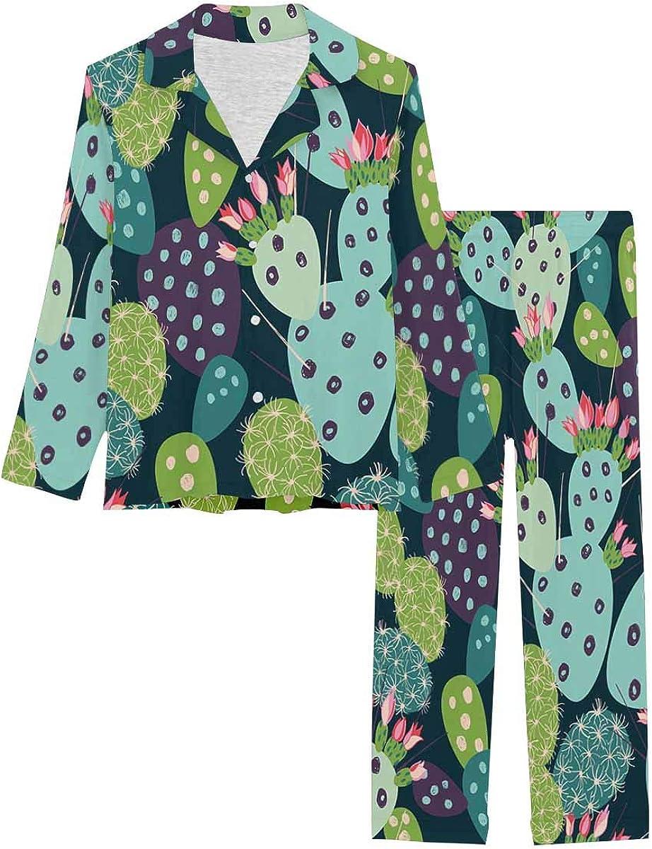 InterestPrint Button Down Nightwear Soft Long Sleeve Pj Set Pink Purple, Violet Flowers