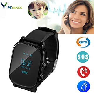Winnes Smart Watch Wrist Watch T58 GPS Tracker Anti-Lost SOS Call Location Finder Remote Monitor Pedometer Functions Parent Control by iOS and Android Smartphones APP - Black