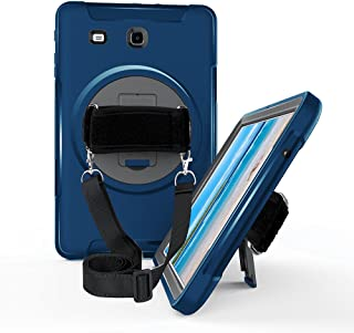 Galaxy Tab E 9.6 Case,STLDM Heavy Duty Shockproof Three Layer Hybrid Impact Resistant Full-Body Protective Case for Samsung Galaxy Tab E 9.6 Inch Tablet with Kickstand,Shoulder Strap, Blue