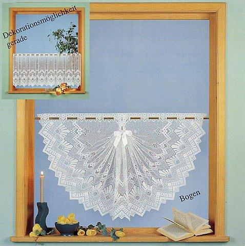 Gardine Scheibengardine Jacquard Country Cottage in weiß HxB 78x175cm - Deko Variation Muschelbogen mit Satinband - Vorhang in geprüfter Qualität - Ökotex …auspacken, aufhängen, fertig! Typ86