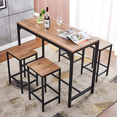 HomeSailing 5 Pieces Bar Counter Table and Stools Kitchen Set for 4 People Breakfast Small Dining Room Table and 4 Chair Set Wood Tabletop with Black Metal Frame Home Apartment Furniture