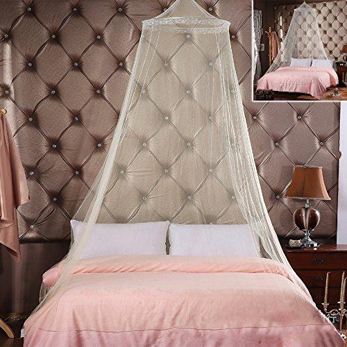 Easy_Buying Moskitonetz Doppelbett Mückennetz Fliegennetz Baldachin schützt vor Insekten Malaria Insektenschutz mit Armbänder, EIN Aufhängekit, Weiß, 250cm x 65cm, 180g