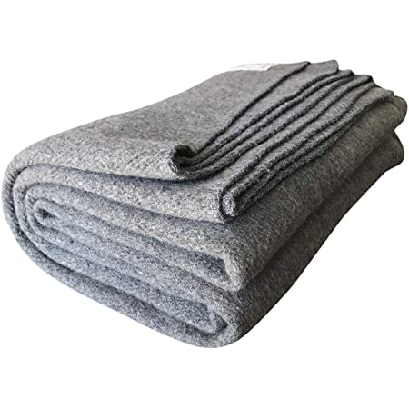 Woolly Mammoth Woolen Co.   Extra Large Merino Wool Camp Blanket   Perfect Outdoor Gear   Bedroll for Bushcraft, Camping, Trekking, Hiking, Survival, or Throw Blanket at The Cabin (Gray)