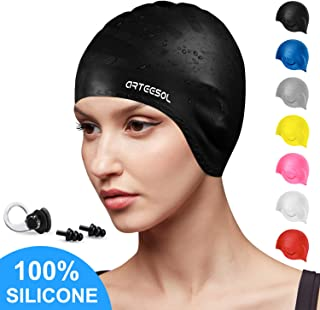 arteesol Swimming Cap, Silicone Swim Cap for Women Men, Durable Non-Slip Waterproof Swim Cap Protect Ears, Long Hair for Adults, Older Kids, Boys and Girls