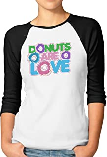 Sakanpo Women's Donuts are Love 3/4 Sleeve Baseball Tee Raglan T-Shirts Black