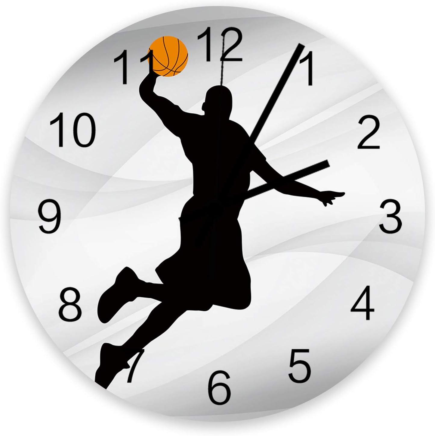 Milwaukee Mall Roses Garden 12 Inch 25% OFF Wooden Basketball Wall Clock Player Silhou