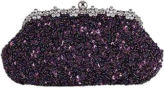 ETH Women's Diamonds Full Beaded Sequins Luxury Evening Bags Retro Banquet Clutches Wedding Dresses Dinner Bags Portable Messenger Chain Bags Permanent (Color : Purple)