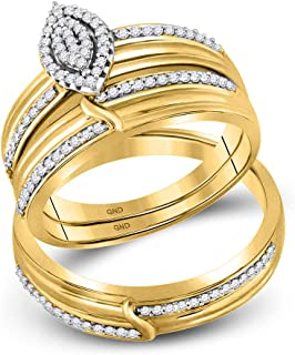 Mia Diamonds 10k Yellow Gold Diamond His & Hers Matching Trio Wedding Engagement Bridal Ring Set (.33cttw) (I2-I3)- Available Sizes From - 5 to 11