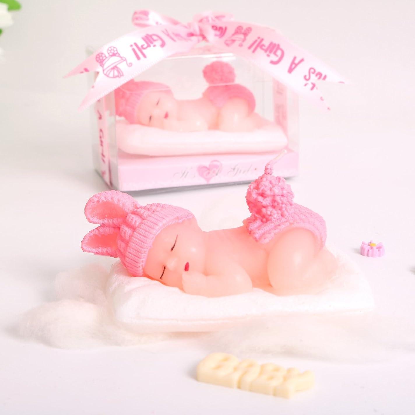 矢印ランダム磁石(1 Pack, It's a Girl) - Adorable Mini Baby Birthday Candle Christening Baby Shower Favours Attached with Greeting Card (Pink) Cake Topper Party Decoration