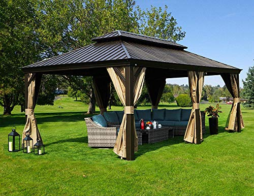 Kozyard Alexander Hardtop Aluminum Permanent Gazebo with a Mosquito Net and Privacy Sidewalls (Alexander 12x20)