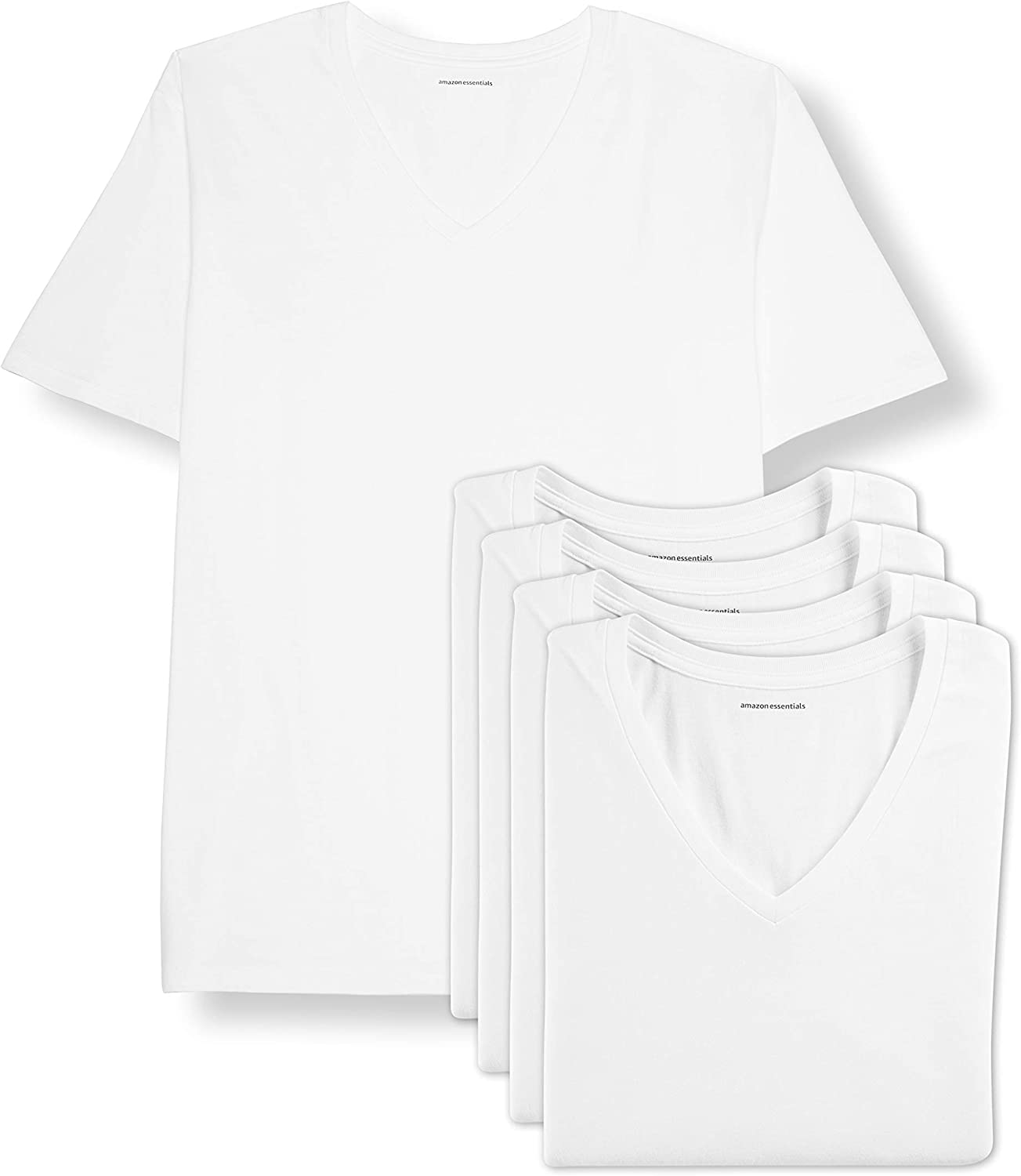 Amazon Essentials Men's Big & Tall 5-Pack V-Neck Undershirts fit by DXL