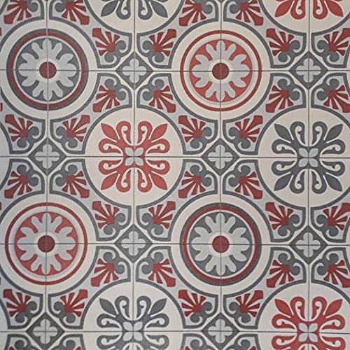 livingfloor® PVC Bodenbelag im Boho Orient Stil Fliesendekor Rot/Grau 2m Breite, Länge variabel Meterware, Größe:2.50x2.00 m