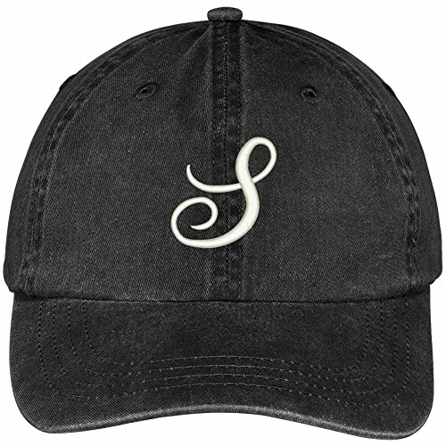 Trendy Apparel Shop Letter S Script Monogram Font Embroidered Washed Cotton Cap - Black
