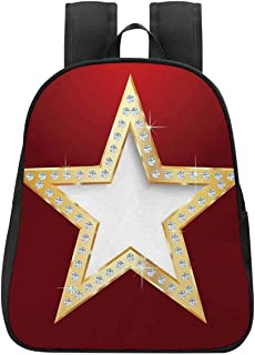 Diamond Decor Canvas Backpack,Star with Crystal Silver Flash Diamonds Picture Digital Prints Home Art for Playgrounds,One_Size