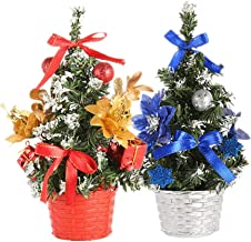 Amosfun 2PCS Tabletop Mini Christmas Tree with Baubles Flowers Hanging Ornaments DIY Holiday Tree Decorations for Living R...