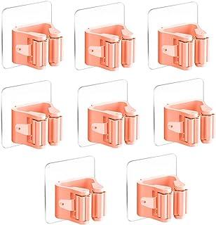 3-H Bezemhouder, gereedschapshouder, zelfklevend, mop en bezemhouder, stabiele wandhouder, opberglijst, snelspanners voor ...