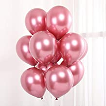 SYNUO Party Balloons 12inch 50 Pcs Latex Chrome Balloons, Birthday Balloons Helium Shiny Metallic Balloons Party Decoration, Compatible Wedding Birthday Baby Shower Bachelor Party (Pink)