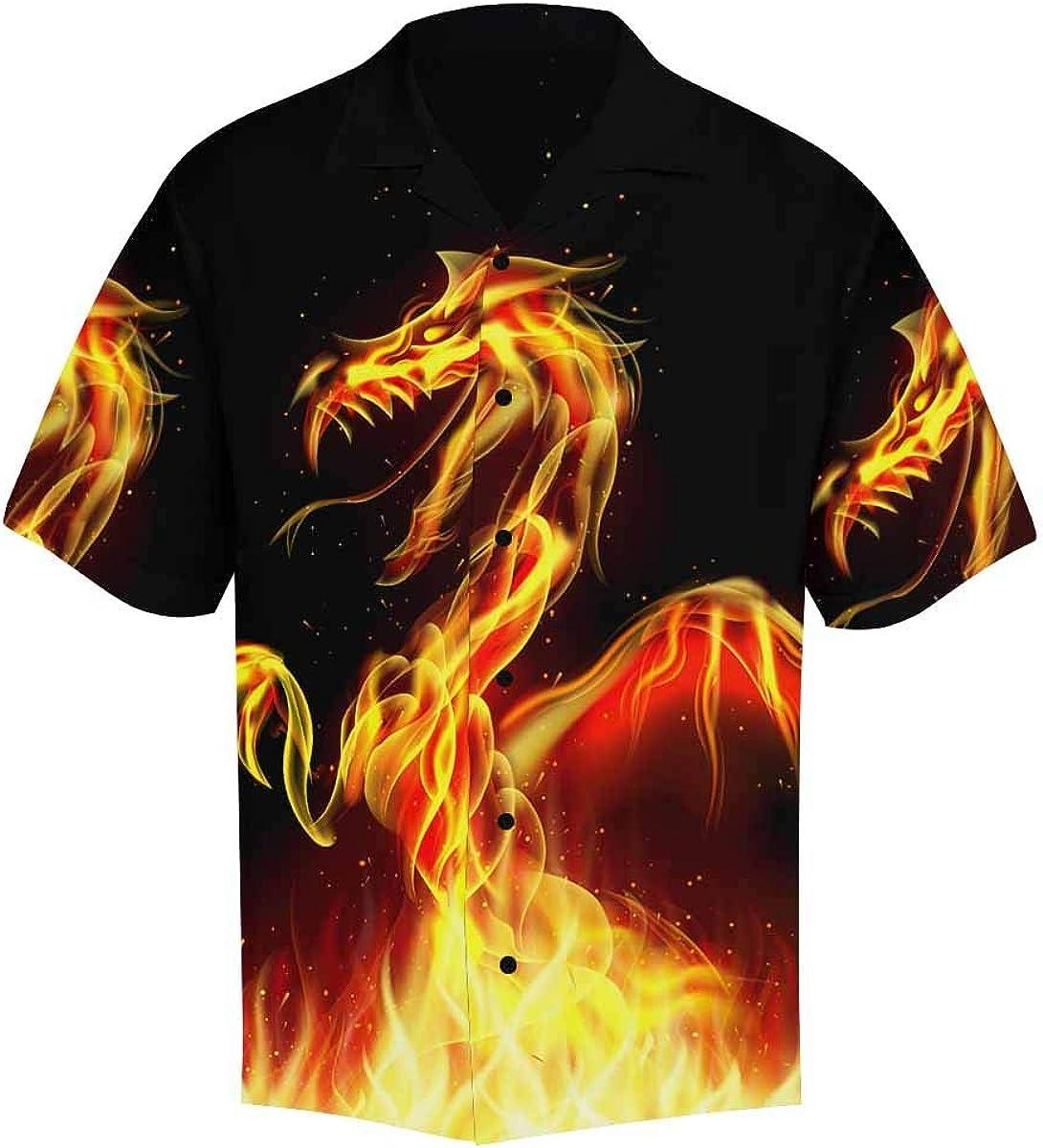 InterestPrint Men's Casual Button Down Short Sleeve Dragon Fire Hawaiian Shirt (S-5XL)