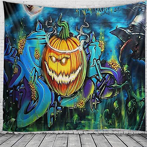 HUDEMR Tapiz de Halloween para colgar en la pared, diseño de calabaza psicodélico, decoración de pared (tamaño: 150 x 130 cm, color: gris oscuro)