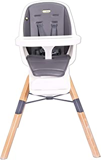 Mini Panda Eat and Learn 4-in-1 Wooden Baby High Chair, Grey