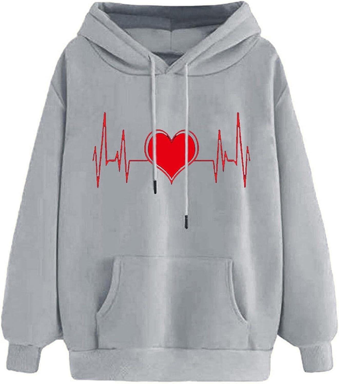 Toeava Sweatshirts for Women,Women's Cute Fashion Long Sleeve Hoodies Pullover Teen Girls Hooded Sweatshirt with Pocket