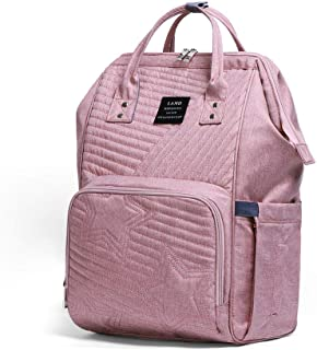 Baby Diaper Backpack - Large Capacity Water-Resistant Nappy Bag with Insulated Pockets and USB Charging Port, Travel Backpack&Outdoor Bag (Pink)