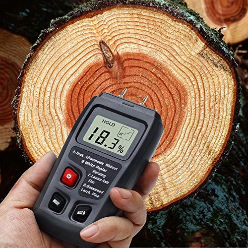 Samfoxy Feuchtigkeitstester-Samfox LCD-Display Holzfeuchtemessgerät Feuchtigkeitsprüfer Handheld Digitaler Holzholzsensor