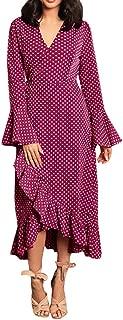 Bravetoshop Women Fashion V-Neck Ruffles Dot Point Print Bandage Hight Waist Long Sleeve Maxi Dress