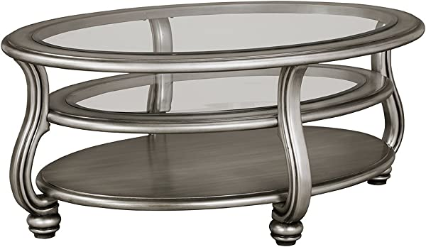 Ashley Furniture Signature Design Coralayne Coffee Table Stylish Occasional Cocktail Table Silver Finish