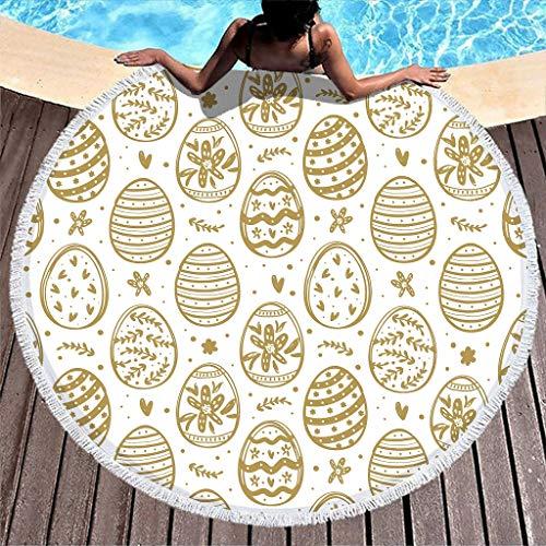 Gamoii Toalla de playa redonda, toalla de baño, manta de pícnic, de secado rápido, extra grande con flecos, para niños, mujeres, fitness y deporte, color blanco, 150 cm
