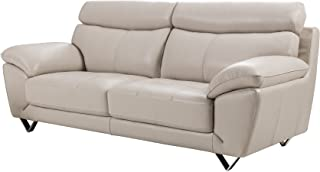 American Eagle Furniture Valencia Collection Italian Grain Leather Living Room Sofa with Pillow Top Armrests, Light Gray