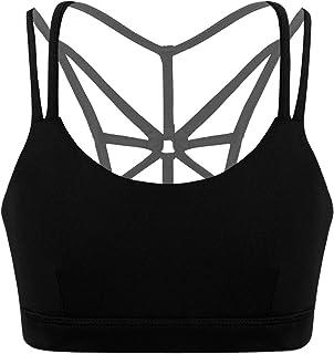 TTAO Kids Girls Ballet Dance Sports Workout Active Bra Crop Top Spaghetti Shoulder Straps Criss Cross Back Tanks