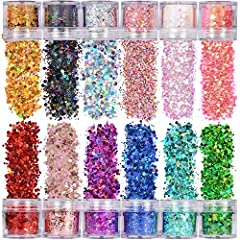 ✅ Warmfits Chunky Glitters are made with high intensity pigment and holographic shine- shining and lightweight, durable enough for a long time use, would not break; Glitter are super creative for DIY lovers, safe to wear on the skin., also use hair g...