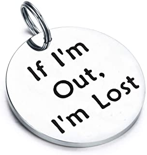 Gzrlyf Pet ID Tag Engraved If I'm Out I'm Lost Pet Tags for Dog Cat