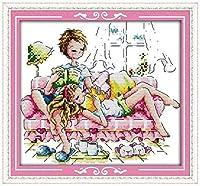 クロスステッチ大人、初心者11ctプレプリントパターンロマンチックなコンパニオン40x50cm -DIYスタンプ済み刺繍ツールキットホームの装飾手芸い贈り物40x50cm(フレームがない )
